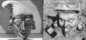 USUALLY ATTRIBUTED TO OLEMC CULTURE THAT PRE-DATED THE AZTECS, THESE SEMETIC LOOKING FIGURE HEADS WERE FOUND IN MEXICO. NOTE THEIR BEARDS, ABSENT IN NATIVES OF THAT LAND, AND FLOPPY HAT TYPICAL OF PHOENICIAN SAILORS
