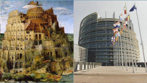 "TOWER OF BABEL BY BRUEGHEL AND THE EU PARLIAMENT IN STRASBOURG. THE EUROPEAN UNION WAS INCORPORATED BY THE MAASTRICHT TREATY IN 1992 SHORTLY AFTER BUSH SR'S ""NEW WORLD ORDER"" SPEECH ON SEPTEMBER 11TH, 1991"